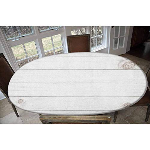 LCGGDB Elastic Polyester Fitted Table Cover,Wooden Planks Horizontal Lines Rustic Timber Soft Tone Oak Background House Image Oblong/Oval Dinner Fitted Table Cloth,Fits Tables up to 48' W x 68' L