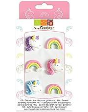 6 decoraciones de azúcar - Unicornio y Arco Iris