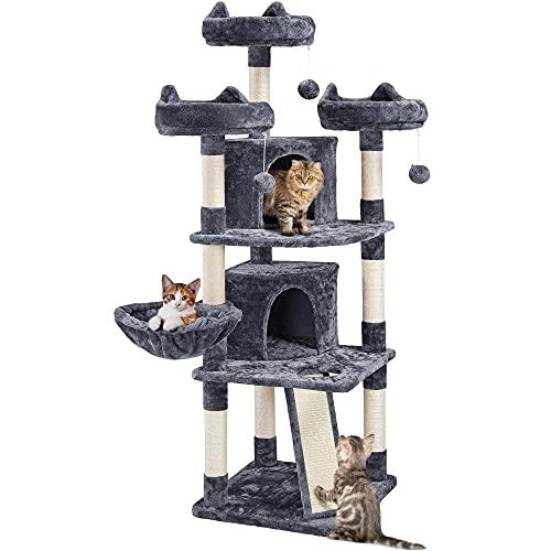 Yaheetech Katzenbaum Kletterbaum Stabil Kletterbaum mit 2 Kuschelhöhle Spielbälle und Kratzbrett Plüsch Katzenmöbel für Katzen