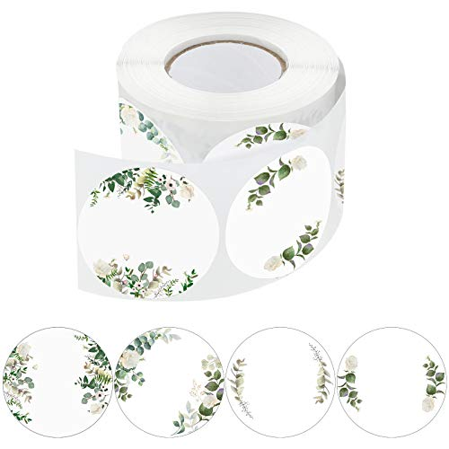 500 Pieces Canning Jars Label Round Self Adhesive Stickers Lid Labels Roll 2 Inch Floral Canning Label Sticker for Storage Organizing Tags Envelop Seal, 4 Designs (White)