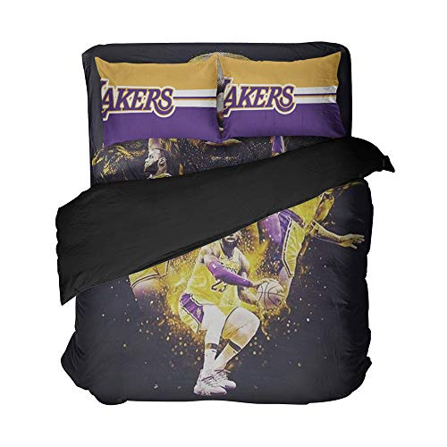 Magaport Men's Basketball Bedding Player Number 23 Bed Set Los Angeles Sheets Duvet Cover Team 3D Printed Bedspread Twin Queen King Twin Full Size (Gold Purple, Full 4pcs)