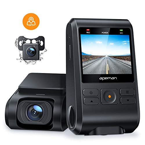 APEMAN Dash Cams Front and Rear Support GPS 1080P Full HD Dual Lens Car Camera with...