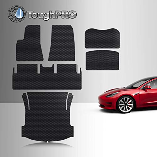 TOUGHPRO Floor Mat Accessories Compatible with Tesla Model 3 - All Weather - Heavy Duty - (Made in USA) - Black Rubber - Mar 2019 - Aug 2019 (Complete Set)