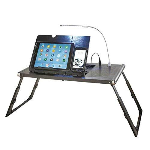 XIALIUXIA Mesa Ordenador Portátil Plegable Mesa, Escritorio Lectura Inclinación Altura Ajustable Recargable por USB Batería Externa Integrada De 10000 Mah Y Luz LED