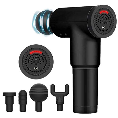 Massage Gun Deep Tissue Percussion Electric Muscle Massager, Portable Handheld Ultra-Quiet Brushless Motor, Relieves Muscle Tension, Including 4 Massage Heads (New Black)