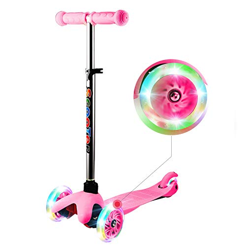 WeSkate Mini Scooter for Kids Lights Up Scooter for Girls Boys Toddlers Scooter with 4 Level Adjustable Height Design for Children Ages 29
