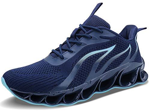 JSLEAP Herren Laufschuhe Fitness straßenlaufschuhe Sneaker Sportschuhe atmungsaktiv rutschfeste Mode Freizeitschuhe (3D Dunkelblau,Größe 46 EU/280 CN)