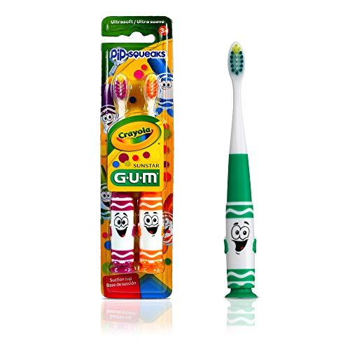 Escova Dental Infantil GUM Crayola Pip Squeak, cerdas macias, com 2 unid, Gum, Sortidas
