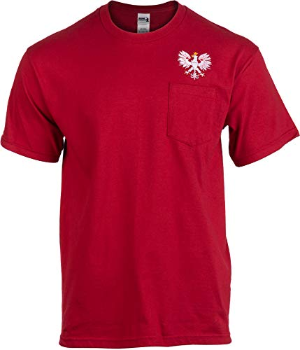 Polish Eagle Pocket Tee   Embroidered Poland Pride Polska Warsaw T-Shirt for Men-(Pocket,L)