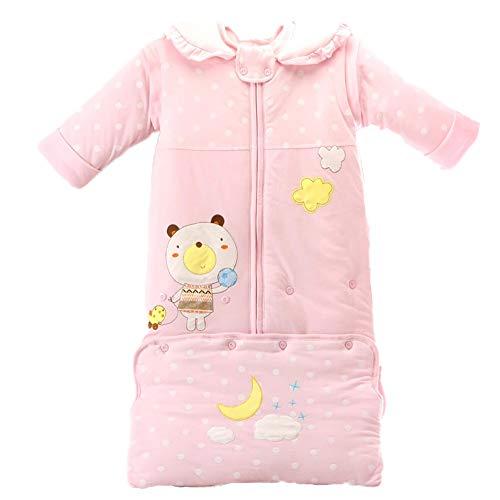 Katoen Warm en Anti-Kick is Kinderen 0-3 Jaar Oude Herfst en Winter Dikke Baby Baby Afneembare Mouw Mannen en Vrouwen Slaapzak 110cm roze
