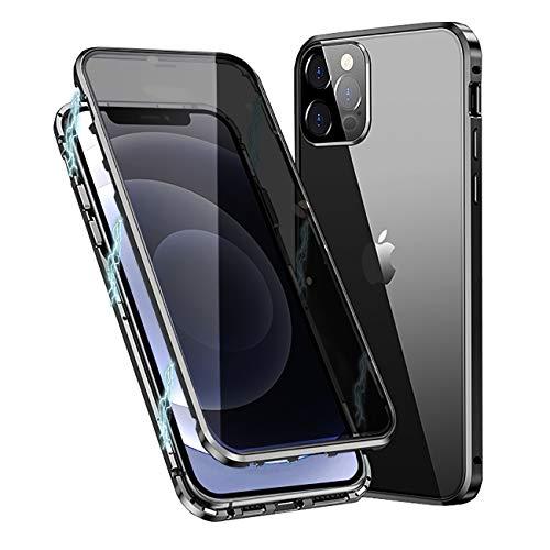 MOSSTAR Funda protectora para iPhone 12 Pro Max, con absorción magnética, parte delantera y trasera de cristal templado, protección de la cámara, diseño de una sola pieza, 360 grados, color negro