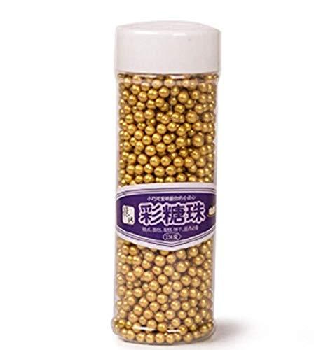 Decoración de mini perlas de caramelo en color dorado, comestibles, para tartas, celebraciones, bodas o fiestas, suministros de 4 mm130 g