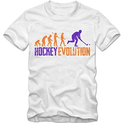Hockey Evolution #1 T-Shirt | Eishockey | Streethockey | Unique | Herren | Shirt, Farbe:Weiß (White L190);Größe:M