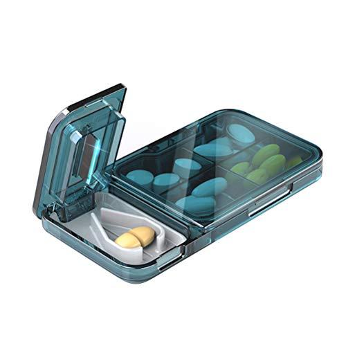 Bireegoo 1Pcs Pill Organizer box,Pill Cutter Splitter for Small or Large Pills Four Grid Pill Organizer for Tablet Vitamin and Big Medicine(11.5 * 6cm)