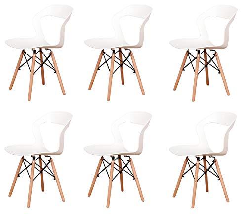Silla de comedor estilo nórdico con respaldo hueco con asiento de polipropileno y patas de madera para cocina, sala de estar, oficina, salón, vestíbulo, recepción, juego de 6 (blanco-4)