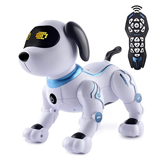 IDEAPARK Remote Control Dog,RC Robotic Stunt Puppy Voice Control Toys,RC Programmable & dancing Robot with Sound Interactive.Gift for 3-12 Ages Boys and Girls.