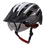 MYMAO Cascos para Hombres para Hombres para Hombres (58-62cm) Casco de Ciclismo con luz Trasera USB Recargable, Visera Desmontable y Gafas,#6