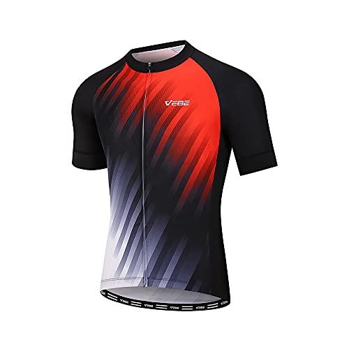 VEBE Men's Lightweight Cycling Jersey Short Sleeve Bike Shirts Reflective Quick-Dry Biking Tops with Three Pockets(Black2, L