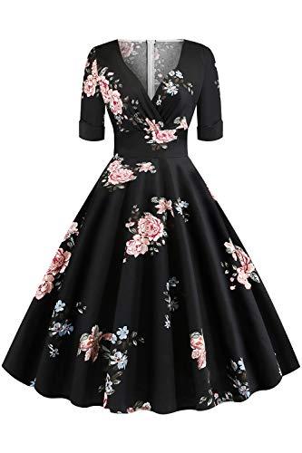 MisShow Damen Bekleidung Hochzeitsgast Elegant 50er Retro Vintage Blumenkleid Faltenrock Cocktailkleider Rosa-Blumen S