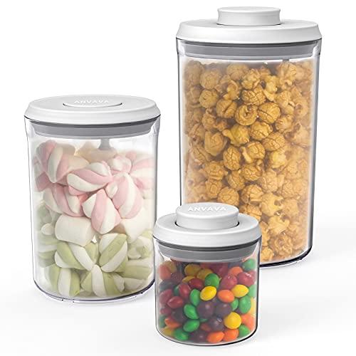 ANVAVA Contenitori Alimentari per Cereali ,Set di 3 Barattoli da 2L 1L 0,25L , con Apertura a un Clic e Funzione di Blocco, Contenitori Impilabili con Coperchio per Conservare Ermeticamente, Senza BPA