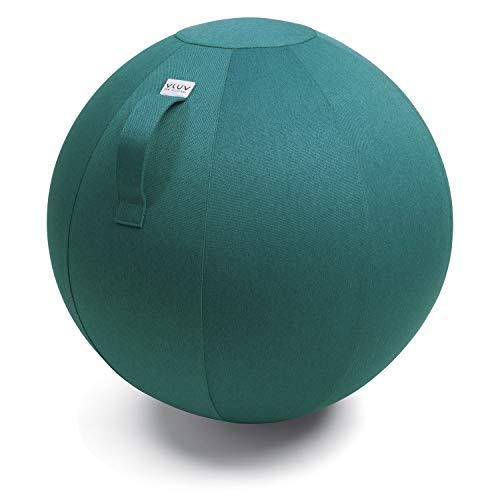 VLUV LEIV Stoff-Sitzball, ergonomisches Sitzmöbel für Schulkinder u.v.m, Farbe: Dark Petrol (blau-grün), Ø 50cm - 55cm, Möbelbezugsstoff, robust und formstabil, mit Tragegriff