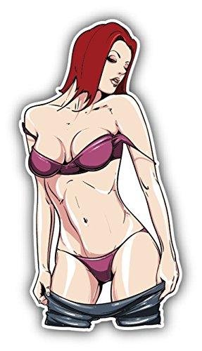 Pin Up Girl Jeans Sexy Cartoon Vinyl Decal Bumper Sticker/Pegatina