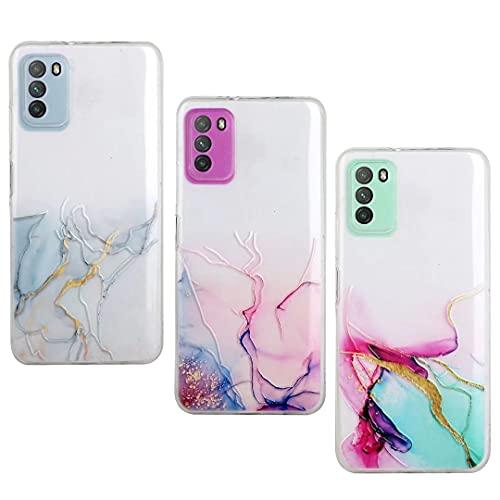 Funda para iPhone 13, diseño de mármol, delgada, suave, flexible, brillante, con purpurina, para iPhone 13 y 3 unidades