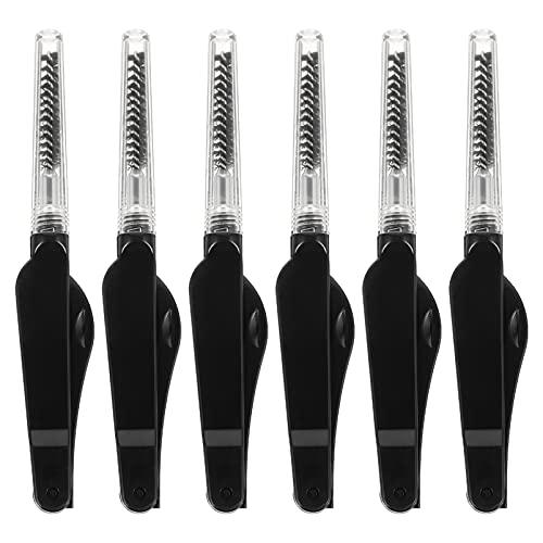 FOMIYES Lot de 6 brosses à sourcils pliables à double extrémité pour sourcils - Pinceaux à sourcils inclinés et portables pour application de précision - Noir
