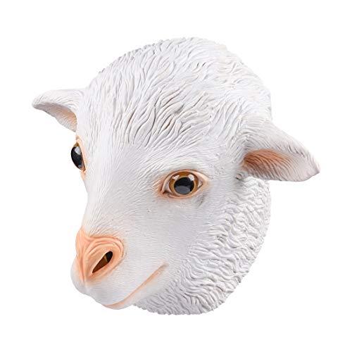 MASCARELLO Latex weiße Schafe voller Kopf Overhead Tier Cosplay Maskerade Kostüm Karneval Maske