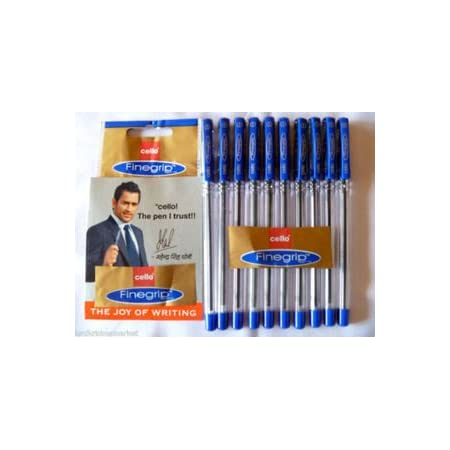 10 X Cello FINE GRIP Ball Pen Blue 0.7 mm Smooth Writing*School*Home*Office Use