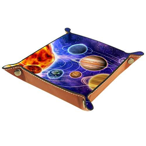 Bennigiry Valet Tablett Space Solar System Univers Bedruckt Leder Schmuck Tablett Organizer Box für Brieftaschen, Uhren, Schlüssel, Münzen, Handys und Bürogeräte, Multi, 16 x 16 cm