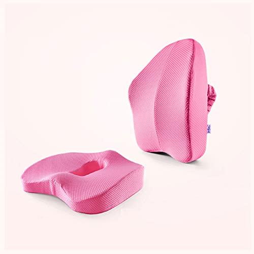 Cojines para sillas Cojín de Asiento y Almohada de Soporte Lumbar for Silla de Oficina, Coche, Silla de Silla de Ruedas Cojín de Silla de Espuma con Cubierta Lavable (Color : Pink)