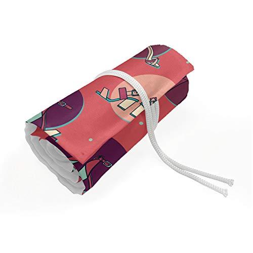 ABAKUHAUS Mode Etui met Rolomslag voor Pennen, Het ontwerp van de hoge hak sandalen, Duurzame & Draagbare Potloodetui, 48 Vakjes, Coral Multicolor