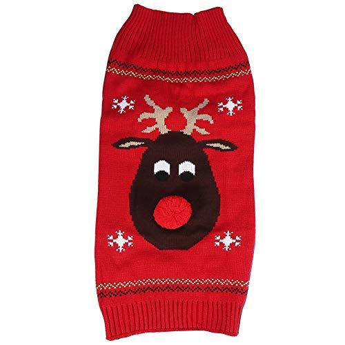 Nikou huisdier trui - Kerstmis huisdier hond trui warme hond pyjama zachte rode neus hert trui breigoed kleding winter doggie trui
