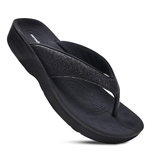 AEROTHOTIC Women's Comfortable Orthotic Flip-Flops Sandal (US Women 7, Crystal Black)