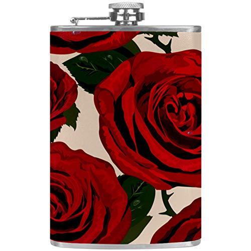 Petacas de Alcohol Flor Rosa roja Retro Petaca 227ml Acero Inoxidable para Whisky Vodka Alcohol líquido con embudos para Hombres y Mujeres 9.2x15cm