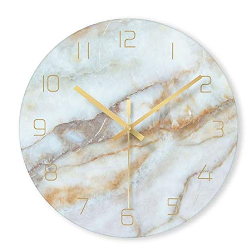 12 Inch Non Ticking Silent Wall Clock Marble Pattern Wall Clock - Battery Operated Digital Clock Wall Mounted - Mordern Bedroom Office Living Room Decorative Wall Clock (B)