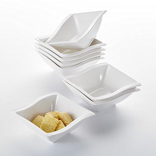 MALACASA, Serie Flora, 8 teilig Set CremeWeiß Porzellan Schüssel Schälen Müslischüssel Salatschüsseln DessertSchälen je 4,75