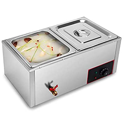 Happybuy Commercial Food Warmer Countertop 110V Electric Food Warmer 850W Stainless Steel Buffet Warmer Server Steam Table for Parties/Restaurants/Cabinet