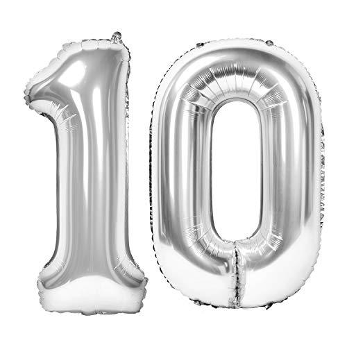 Siumir Globos de Número Número 10 Plata Globos Digital Grande Papel De Aluminio Globos Decoración de Fiestas de Cumpleaños