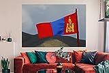 Leinwandbild - Die bunte Flagge der Mongolei weht in der Luft - 150x100 cm