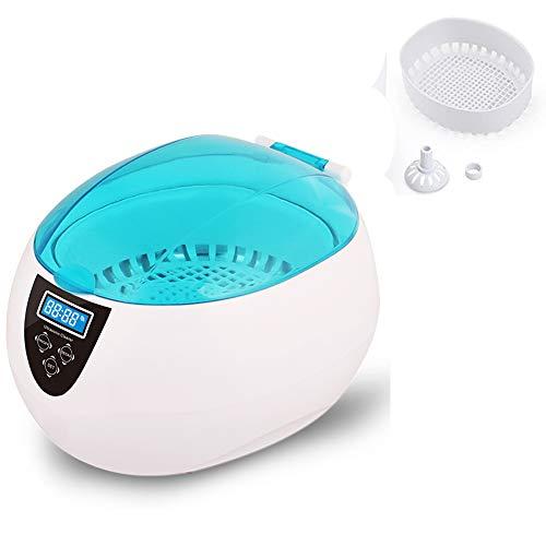 HYE Limpiador de Joyas caseras,Limpiador ultrasónico automático 750 ml Impermeable y Salpicaduras baño Ultra sonoro con Canasta de Limpieza para Relojes de joyería