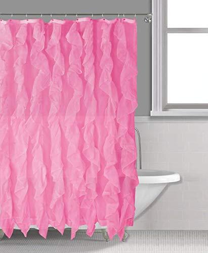 "Sapphire Home Cascade Shower Curtain, Fabric Ruffle Shower Curtain, 70"" x 72"" Inches, Sheer Voile Vertical Ruffled Bathroom Shower, (Cascade, 70""x72"", Pink)"
