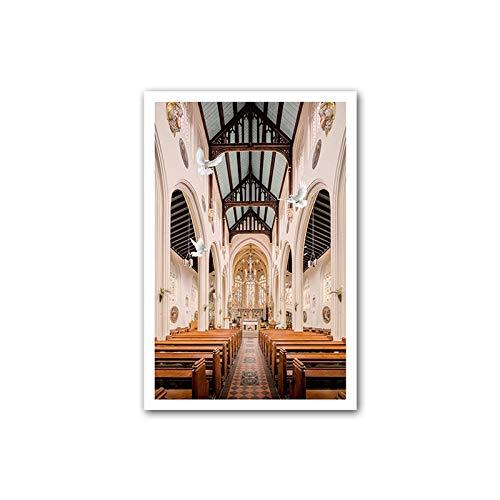N / A Poster de couloir d'église - Paysage de colonne romaine nordique - Impression sur toile moderne - Décoration de salon - 40 x 60 cm - Sans cadre