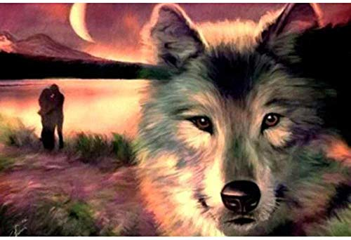 LHZBB DIY Adult 5D Diamond Painting Kit Animal Wolf and Couple Full Diamond Painting Rhinestone Embroidery Cross Stitch Household Wall Decoration Crafts 12X16 inches