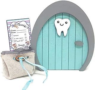 Puerta Ratoncito Pérez o Hada de los dientes de madera azul,con saquito. Producto artesanal hecho en España