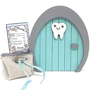 Blue Tooth Fairy Door, mit Zahnaufbewahrungstasche