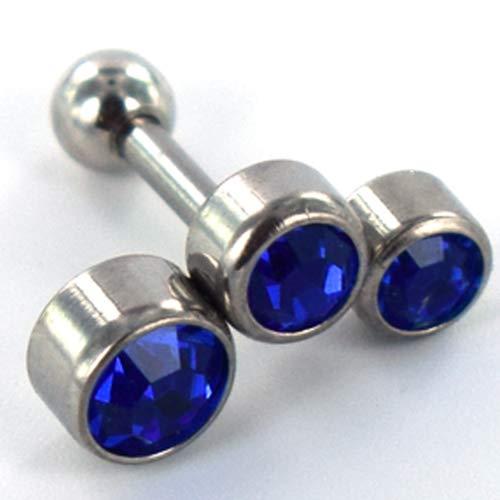 Helix piercing 3 steentjes rond blauw