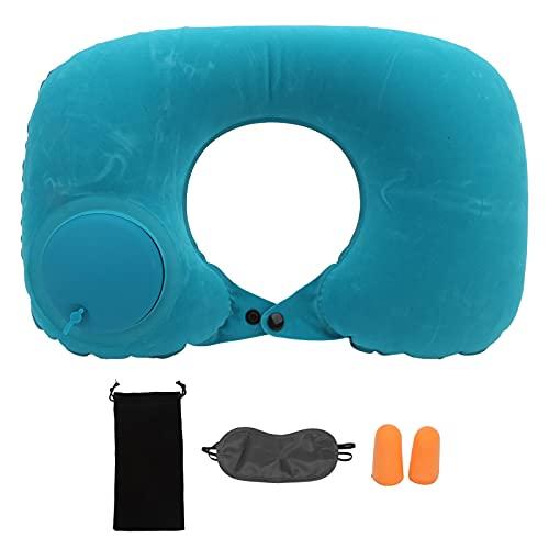 Almohada Aramox en forma de U, almohada en forma de U, cojín inflable suave para reposacabezas, protección cervical para coche, oficina, avión(Menta verde)