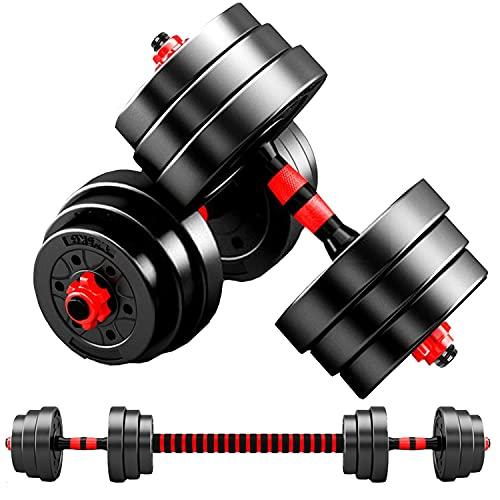 MOJEER ダンベル 可変式【最新進化版・3in1】10kg 20kg 30kg 40kg 2個セット バーベルにもなる ダンベル 無臭素材 静音FL (10kg×2個セット/赤)